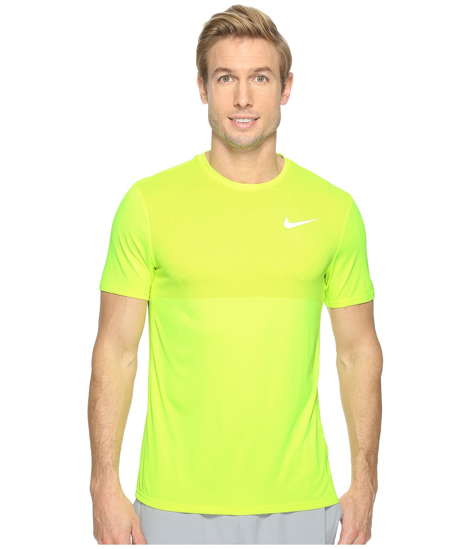 Nike - Zonal Cooling Relay Short Sleeve Running Top (Electrolime/Reflective Silver) Men's Clothing