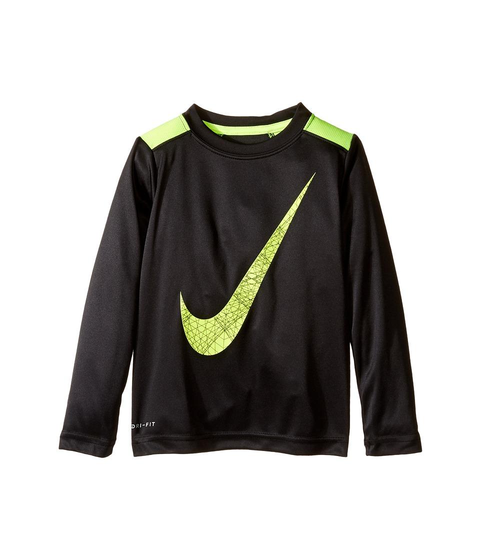 Nike Kids - Legacy GFX Long Sleeve Top (Toddler) (Black/Volt) Boy's Clothing