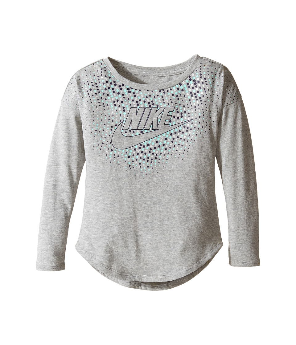 Nike Kids - Club Long Sleeve Modern Tee (Toddler) (Dark Grey Heather) Girl's T Shirt