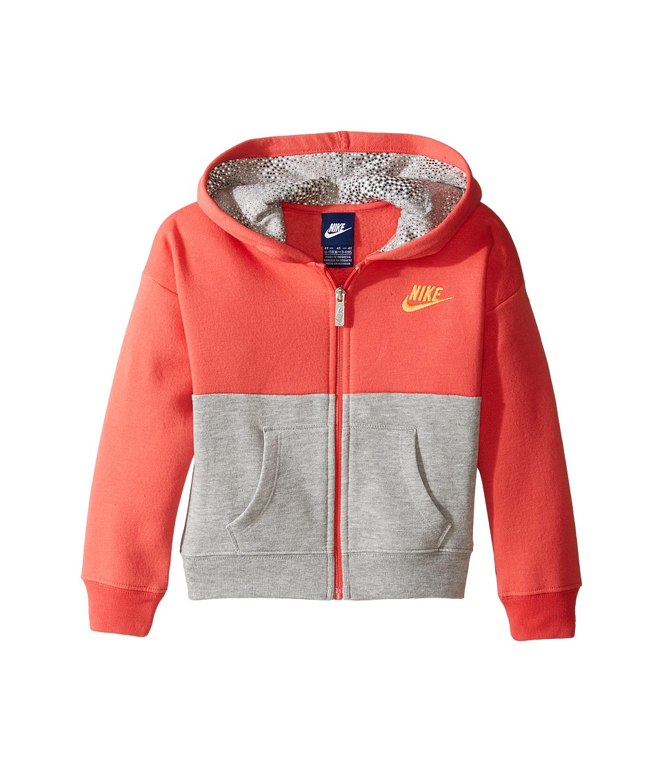 Nike Kids - Club Full Zip Hoodie Aop (Toddler) (Dark Grey Heather) Girl's Sweatshirt