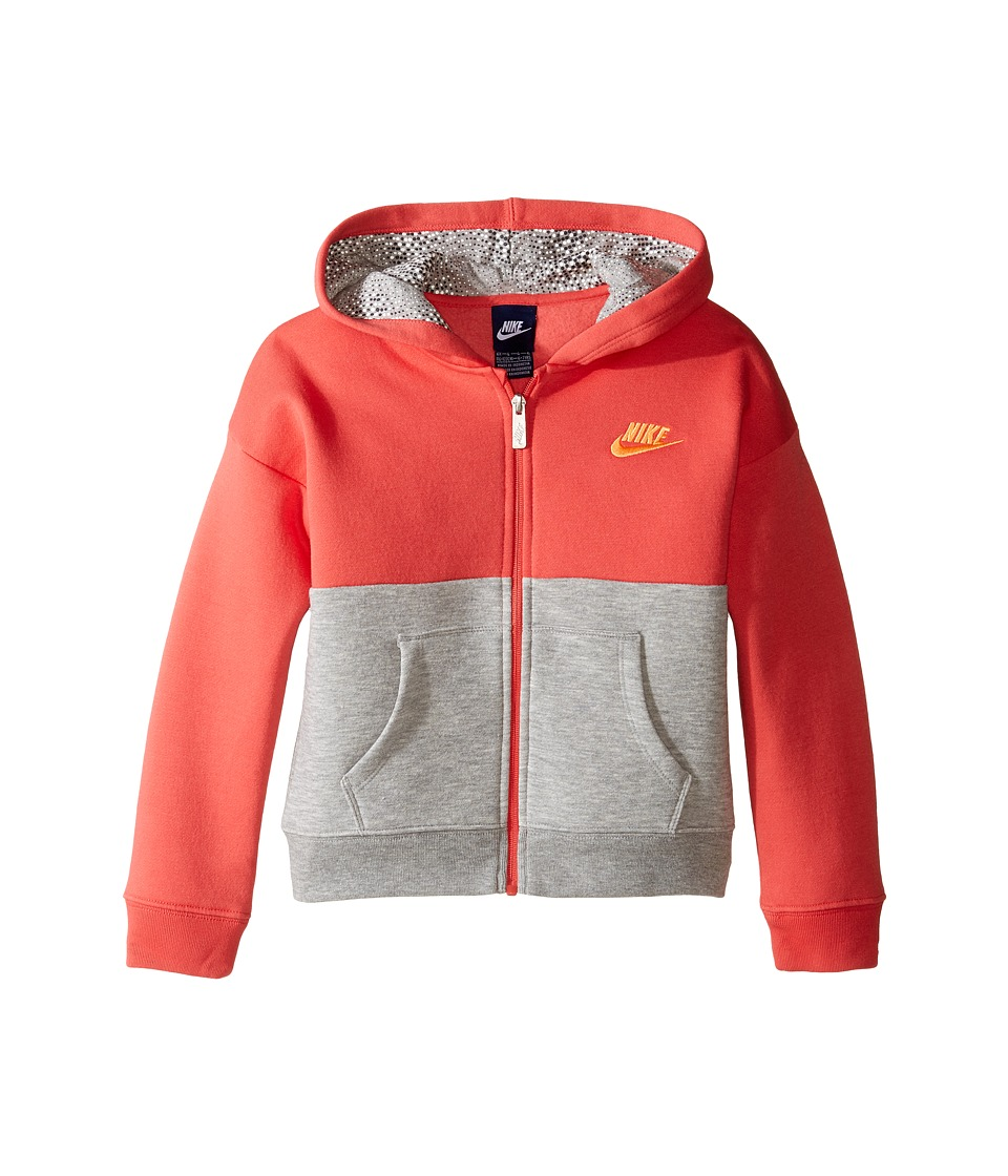Nike Kids - Club Full Zip Hoodie Aop (Little Kids) (Dark Grey Heather) Girl's Sweatshirt
