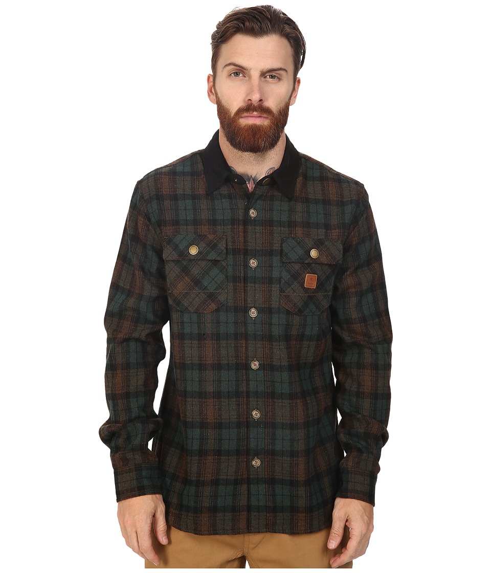 Roark - Nordsman Flannel Long Sleeve Shirt (Green) Men's Clothing