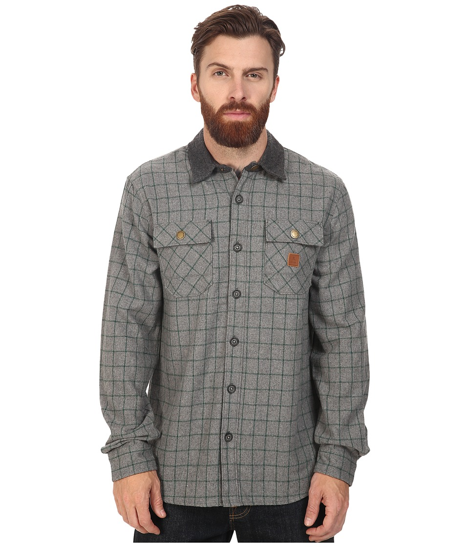 Roark - Nordsman Flannel Long Sleeve Shirt (Grey) Men's Clothing