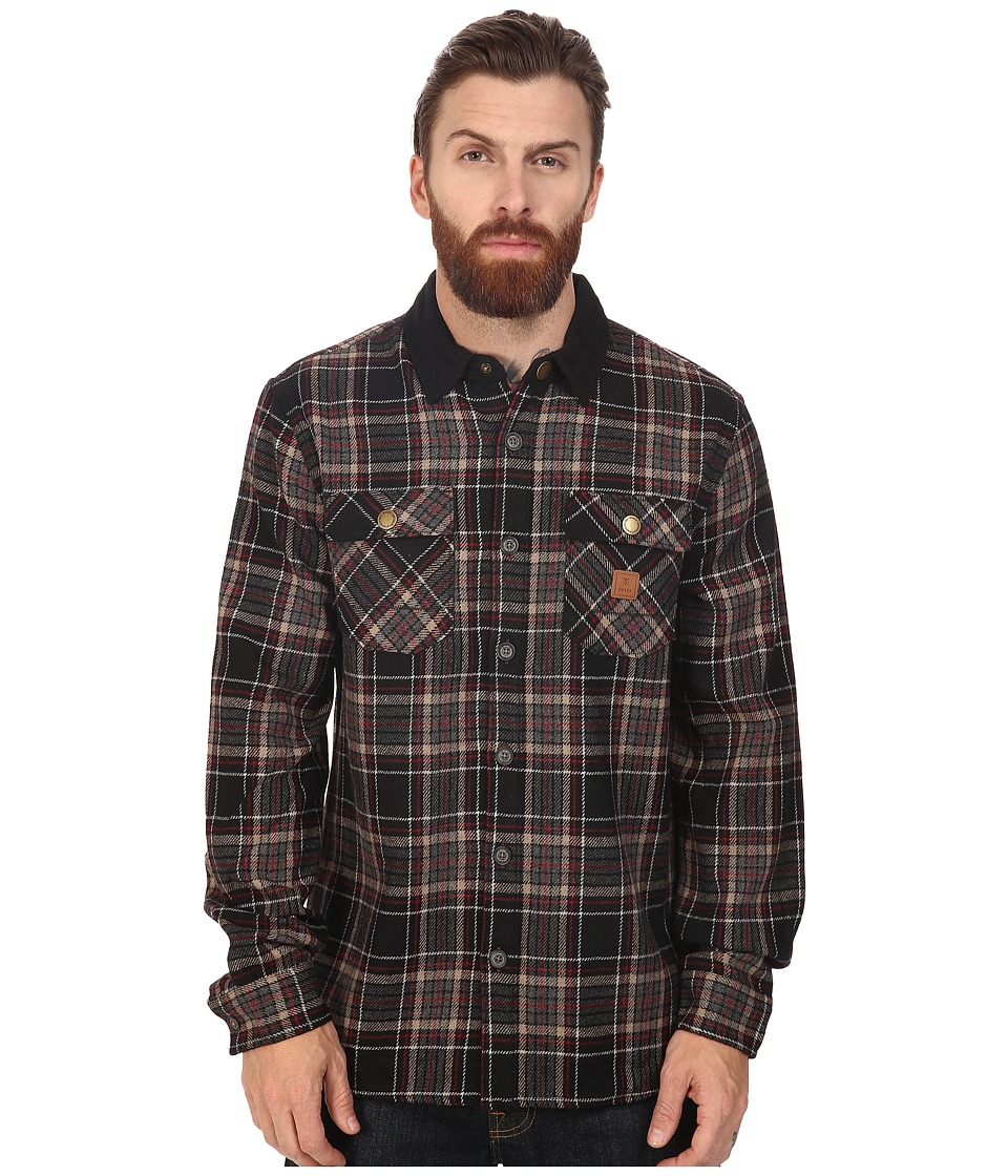 Roark - Nordsman Flannel Long Sleeve Shirt (Black) Men's Clothing