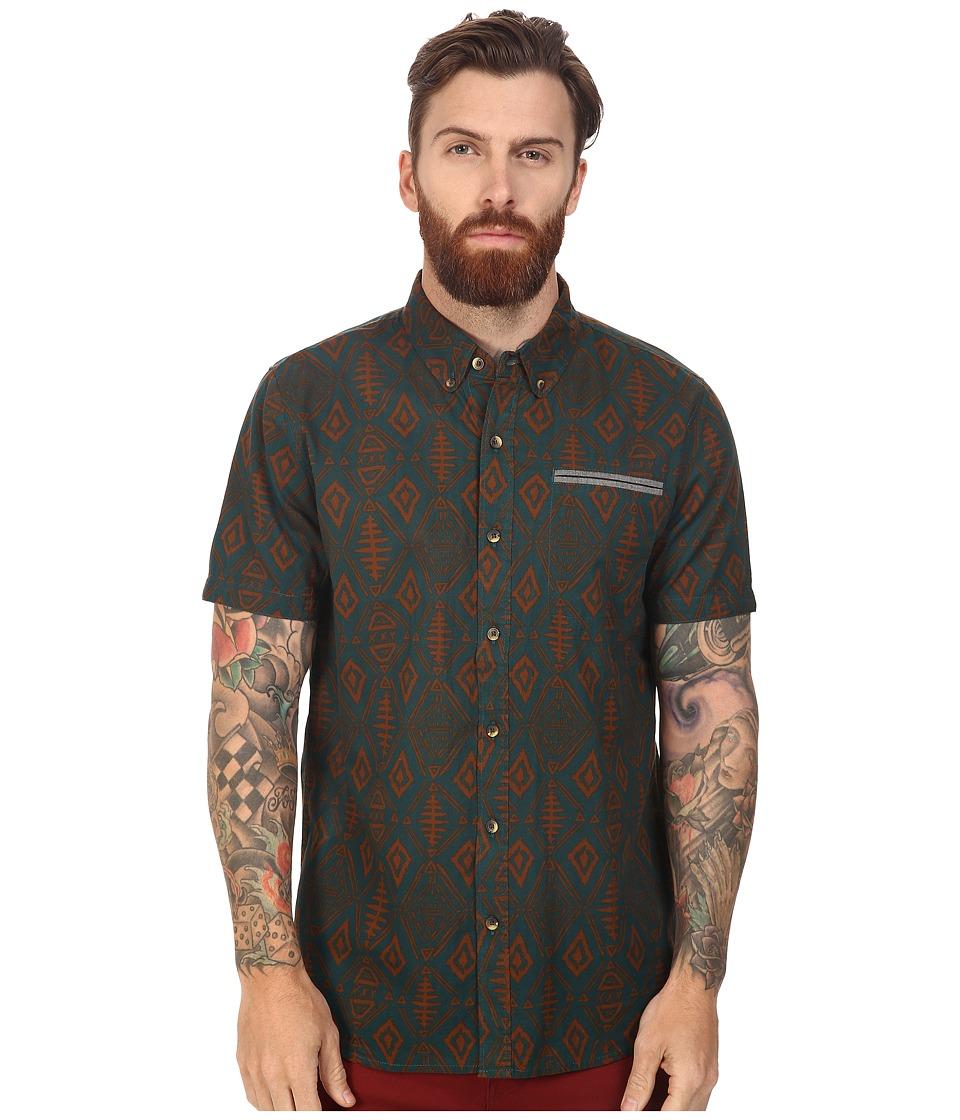 Roark - Fishy Short Sleeve Woven (Green) Men's Clothing