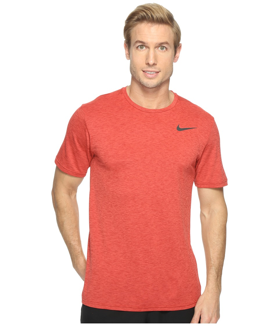 Nike - Breathe Short Sleeve Training Top (Max Orange/Dark Cayenne/Black) Men's Clothing