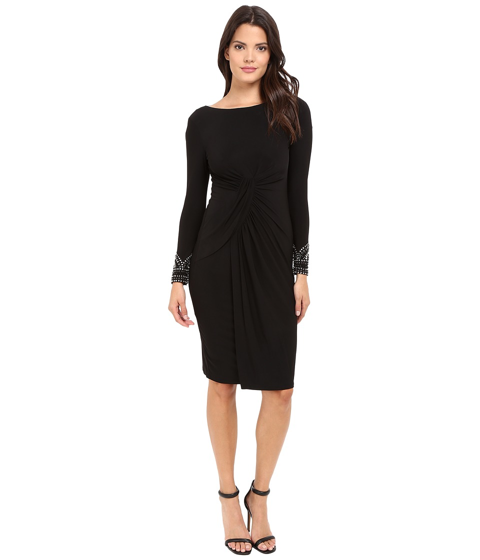 Vince Camuto Beaded Long Sleeve Dress with Front Shirring (Black) Women