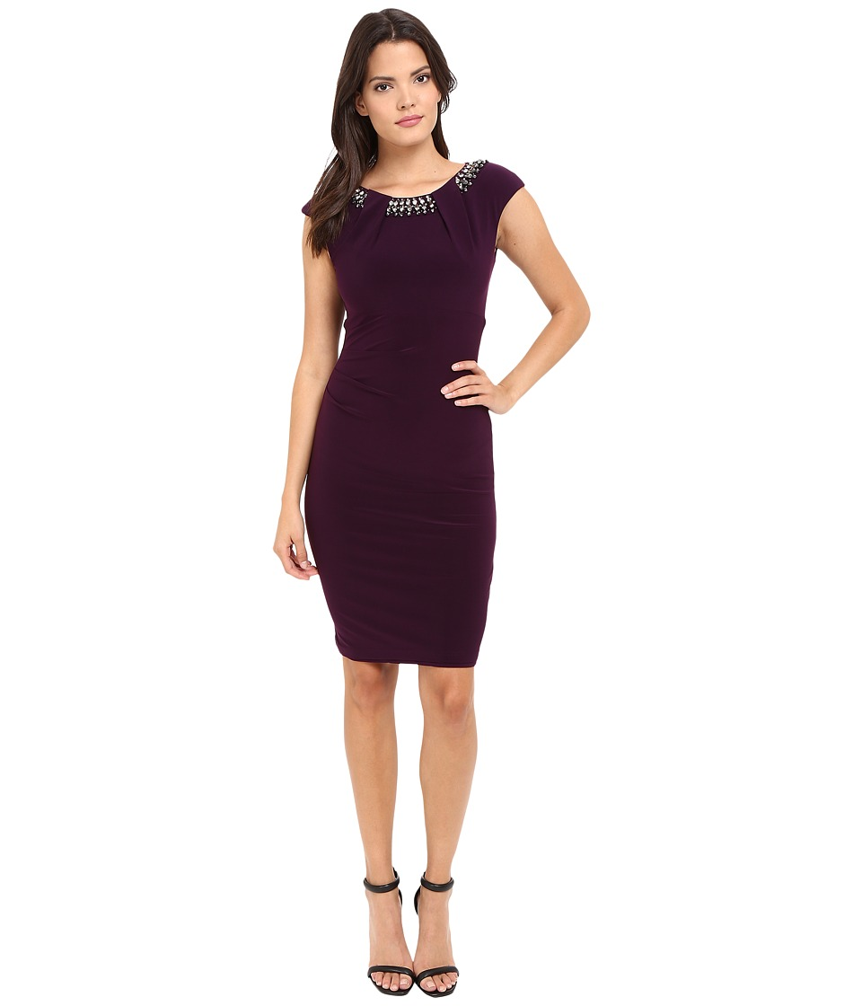 Vince Camuto - Fitted Cap Sleeve Dress with Beaded Neckline (Plum) Women's Dress