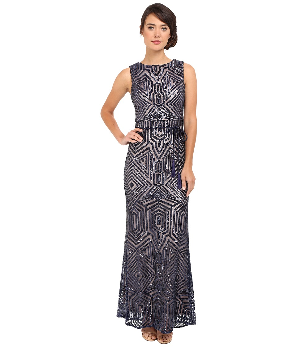 Vince Camuto Geometric Sequins Gown Navy Dress