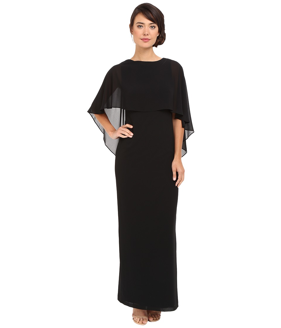 Vince Camuto - Souffle Gown with Cape Overlay (Black) Women's Dress
