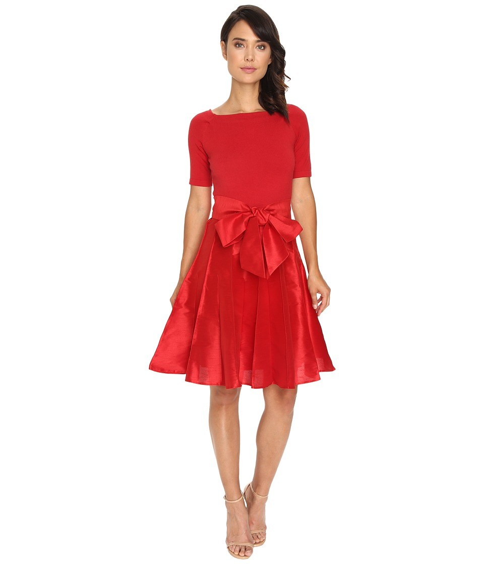 NUE by Shani - Full Fashioned Knit Dress with Dupioni Skirt (Red) Women's Dress