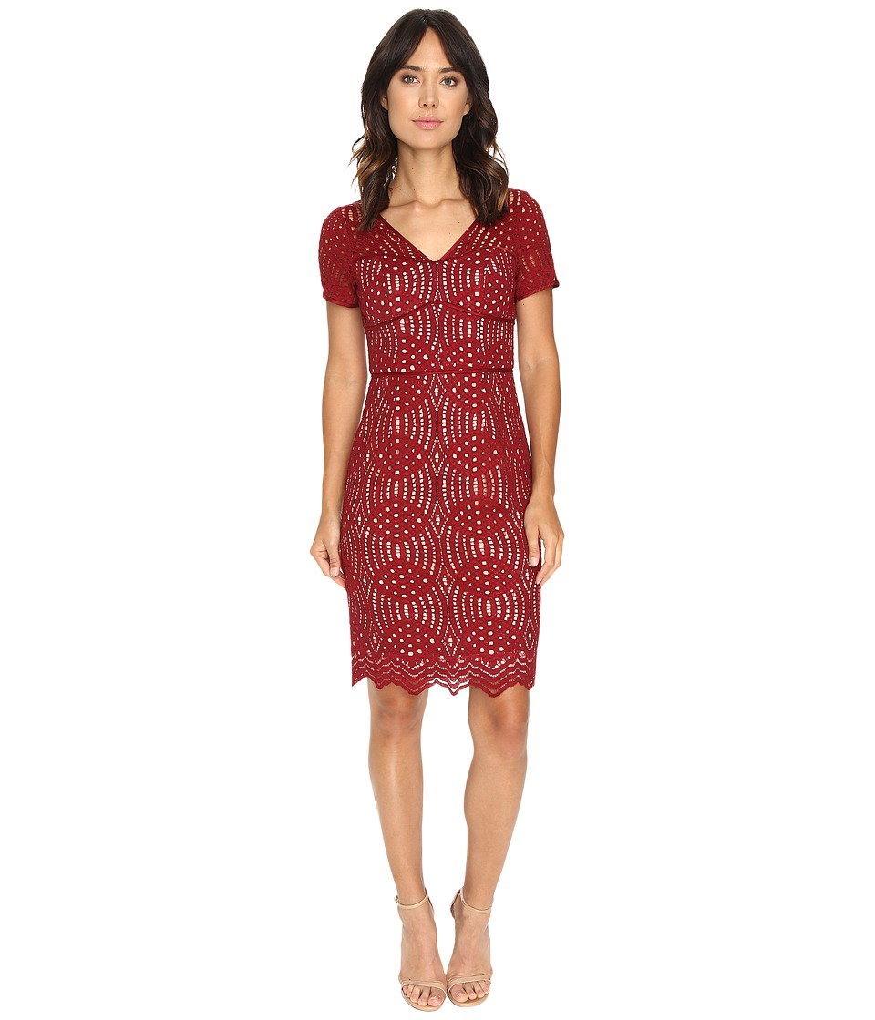 NUE by Shani - Geometric Lace Dress (Wine) Women's Dress