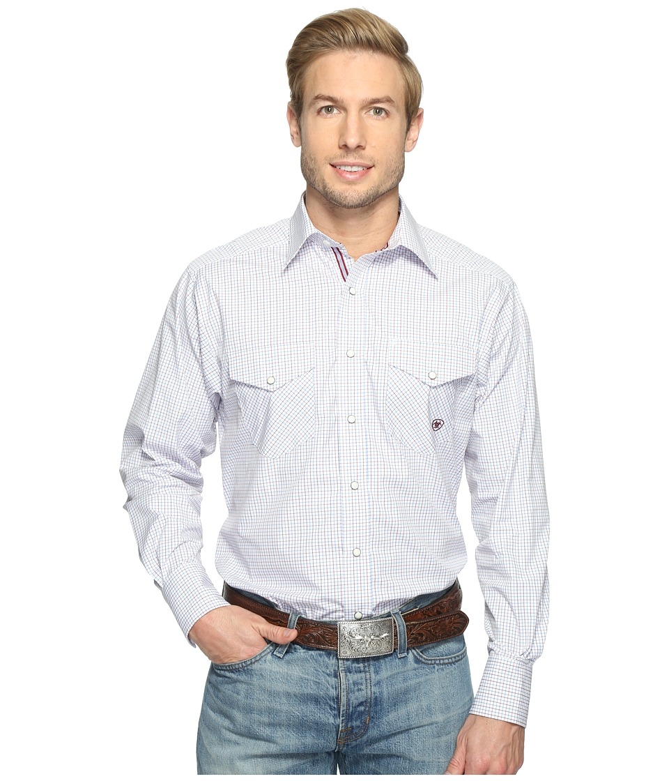 Ariat - Aiden Snap Shirt (White) Men's Long Sleeve Button Up