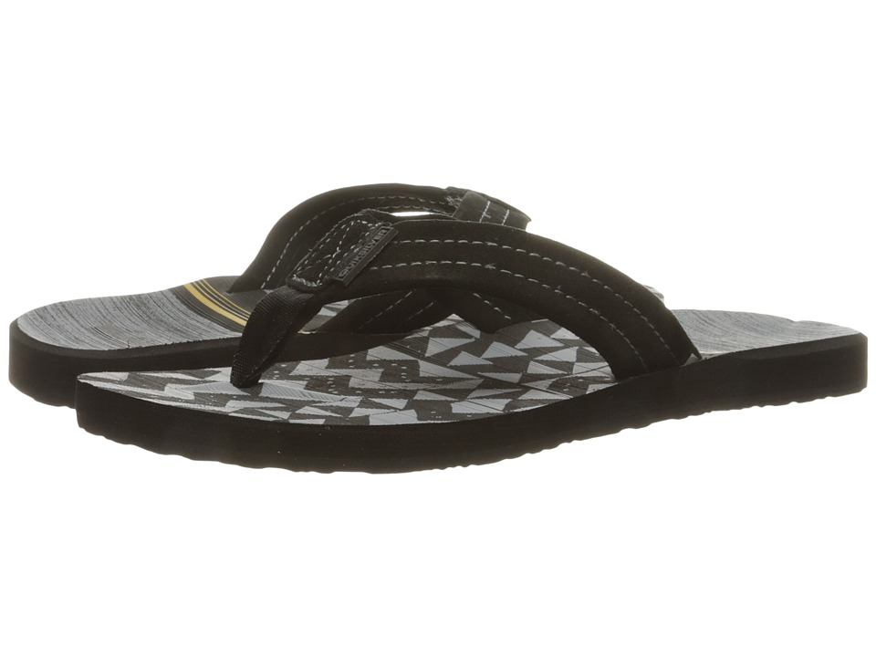 Quiksilver - Carver Suede Art (Black/Black/Orange) Men's Sandals
