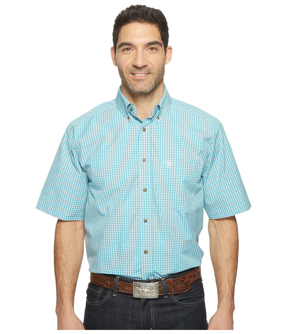 Ariat - Ezra Shirt (Perfect Turqoise) Men's Short Sleeve Button Up