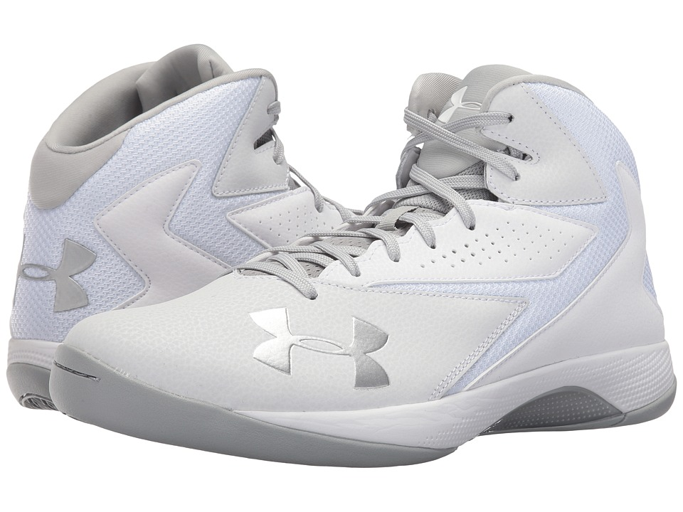 Under Armour - UA Lockdown (White/White/Metallic Silver) Men's Basketball Shoes