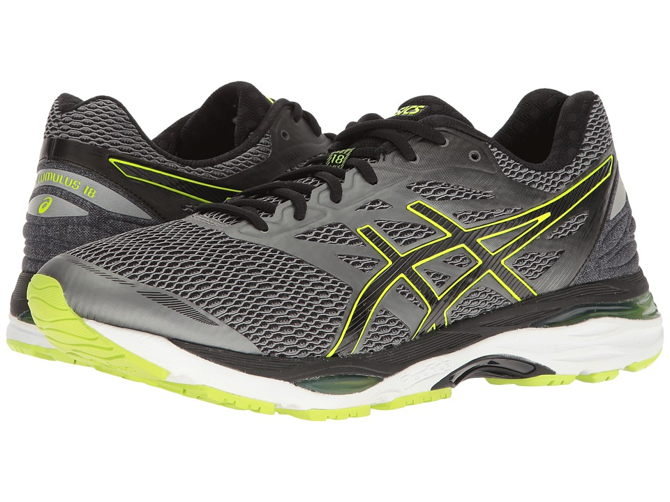 ASICS - Gel-Cumulus(r) 18 (Carbon/Black/Safety Yellow) Men's Running Shoes
