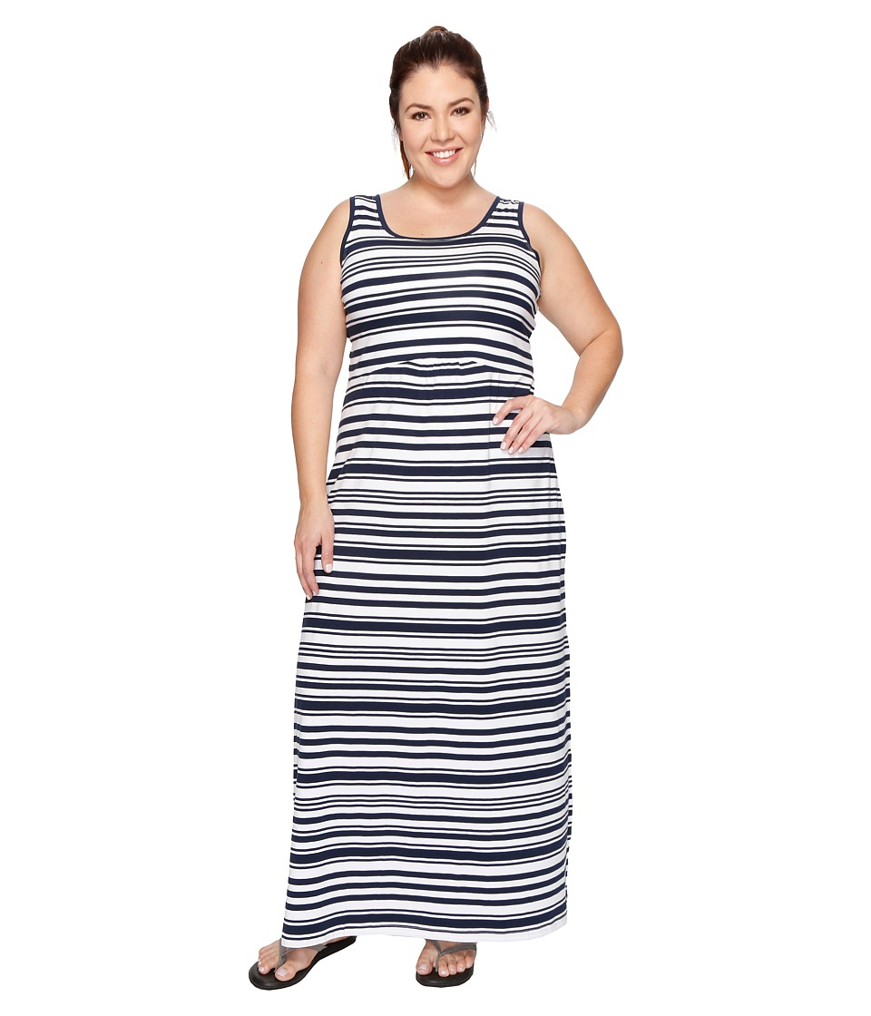 Columbia - Plus Size Reel Beautytm II Maxi Dress (Collegiate Navy Variegated Stripe) Women's Dress