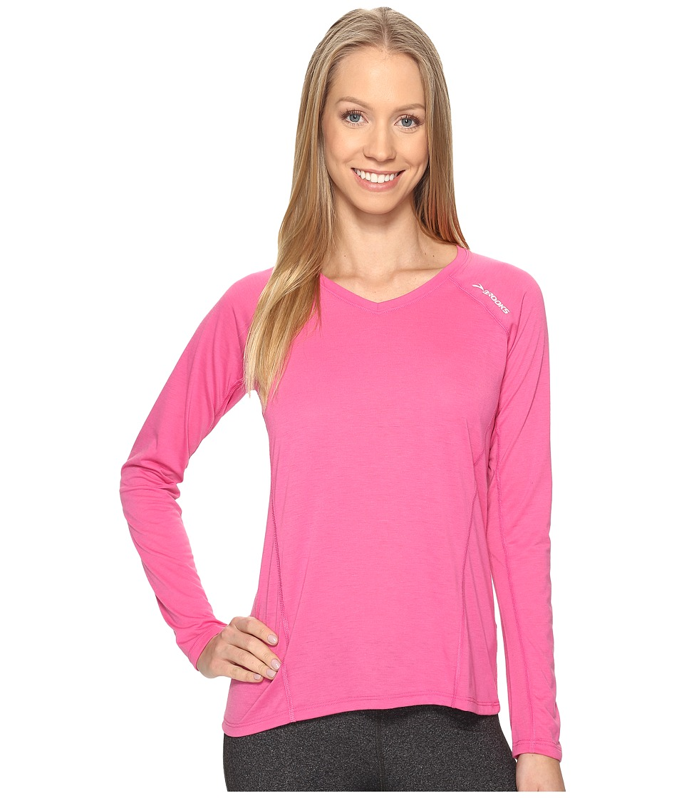 Brooks - Distance Long Sleeve (Heather Petal) Women's Clothing