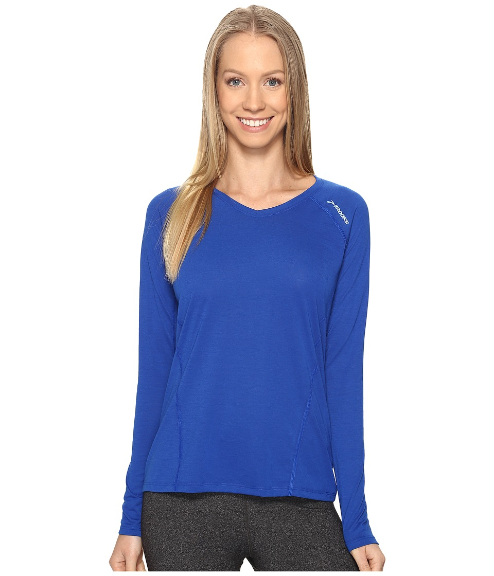 Brooks - Distance Long Sleeve (Heather Cobalt) Women's Clothing