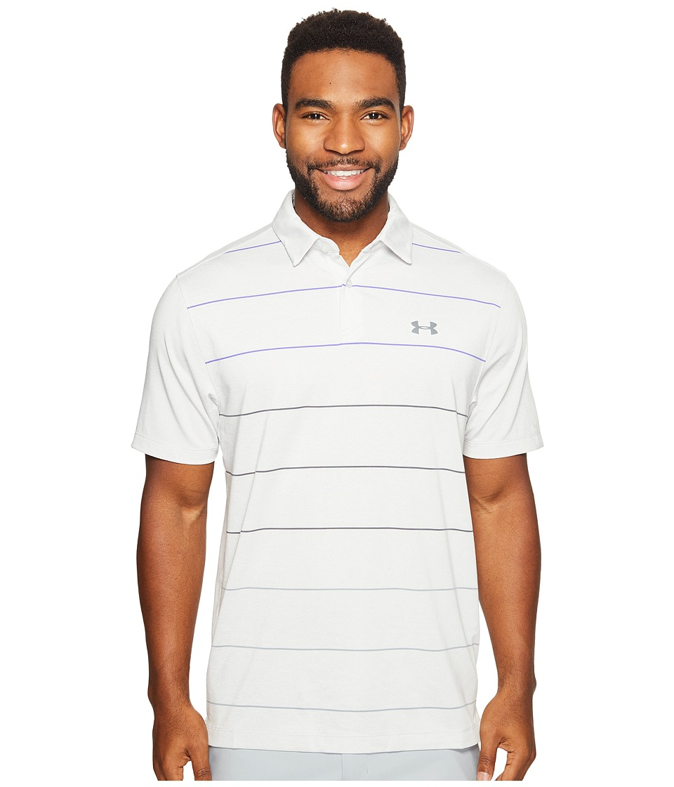 Under Armour Golf - UA CoolSwitch Pivot Stripe Shirt (Air Force Gray Heather/Purple Chic/Graphite) Men's Clothing