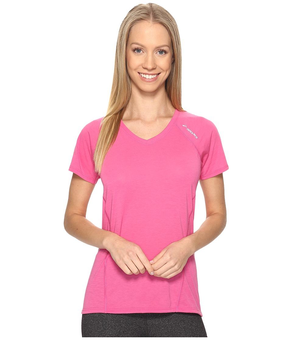 Brooks - Distance Short Sleeve (Heather Petal) Women's Clothing