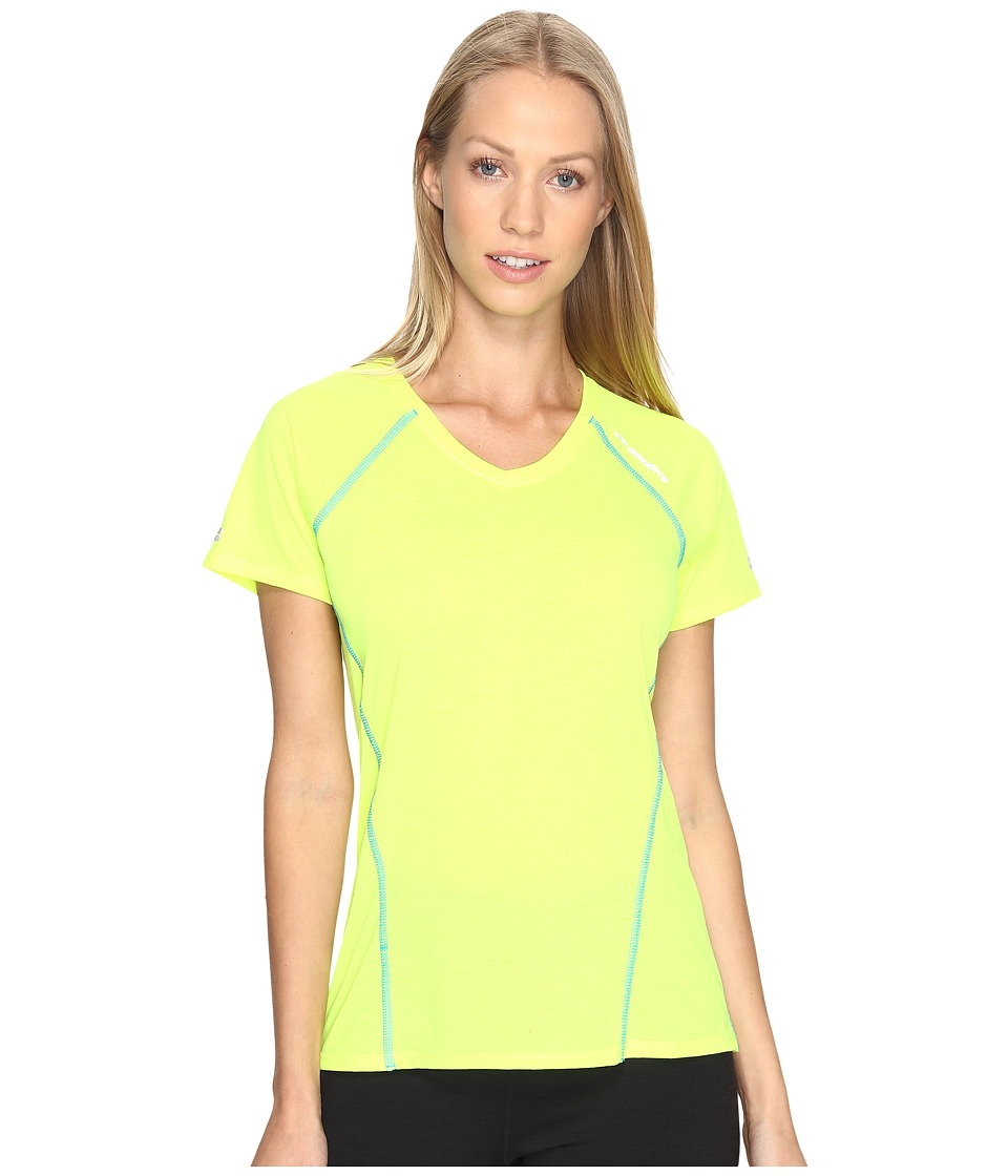 Brooks - Distance Short Sleeve (Nightlife/Ultra Blue) Women's Clothing