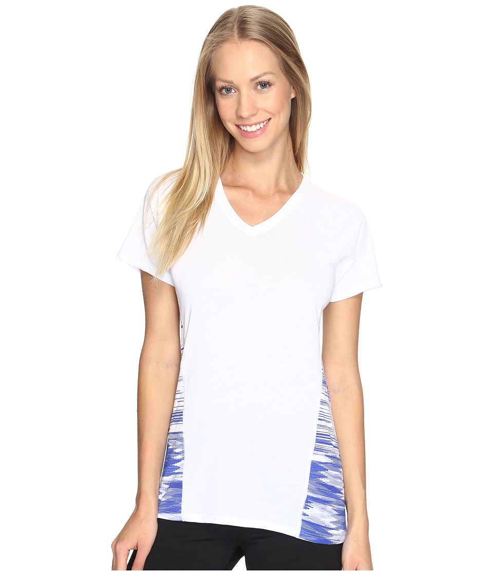 Brooks - Distance Short Sleeve (White/Cobalt) Women's Clothing