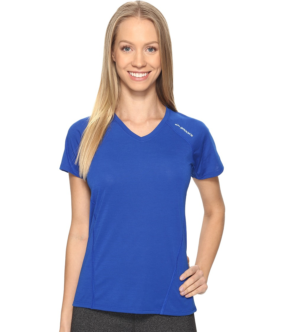 Brooks - Distance Short Sleeve (Heather Cobalt) Women's Clothing