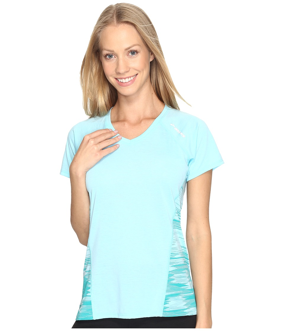 Brooks - Distance Short Sleeve (Heather Mirage/Tile) Women's Clothing