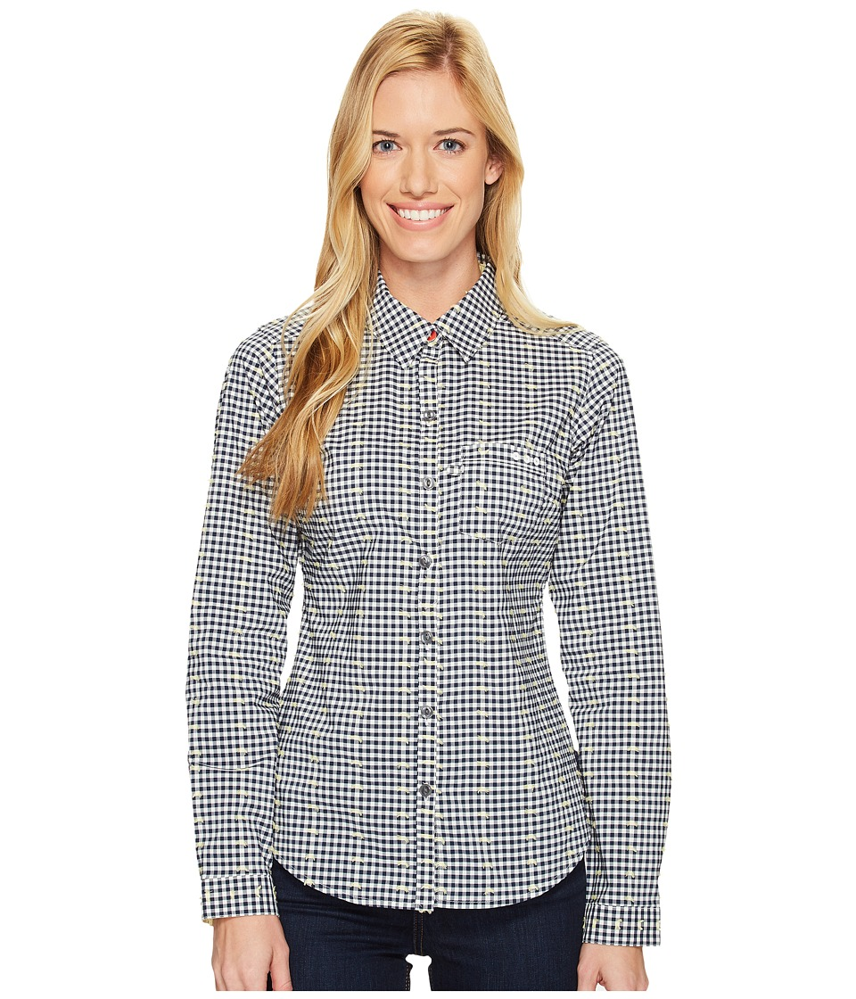 Columbia - Super Harborside Woven Long Sleeve Shirt (Collegiate Navy Dot Gingham/Sunlit) Women's Long Sleeve Button Up