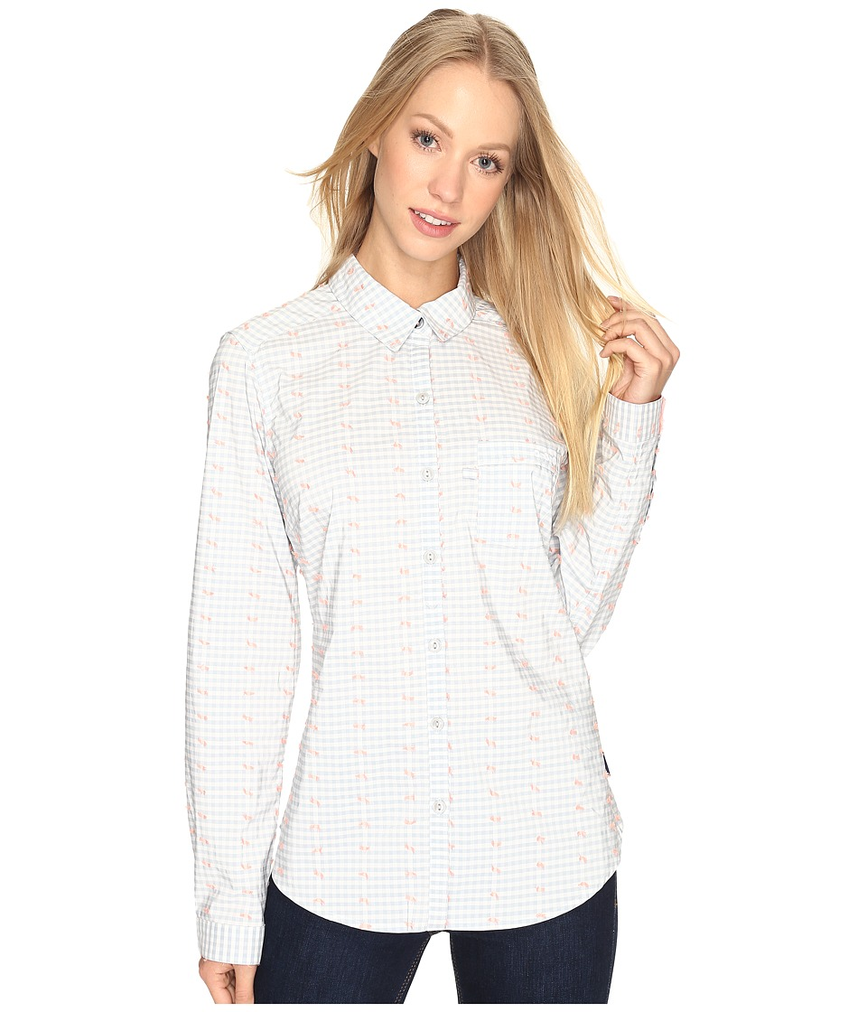 Columbia - Super Harborside Woven Long Sleeve Shirt (Cirrus Grey Dot Gingham/Tiki Pink) Women's Long Sleeve Button Up