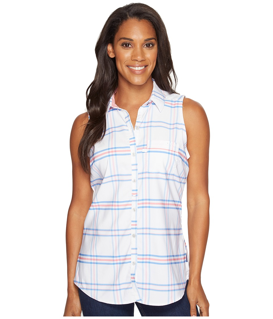 Columbia - Super Harborside Woven Sleeveless Shirt (Harbor Blue Windowpane Plaid/Lollipop) Women's Sleeveless