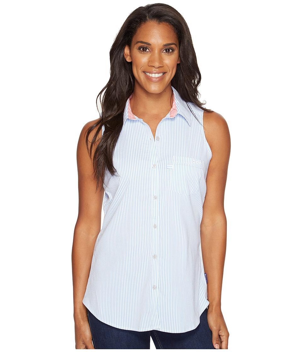 Columbia - Super Harborside Woven Sleeveless Shirt (Harbor Blue Seersucker/Lollipop) Women's Sleeveless