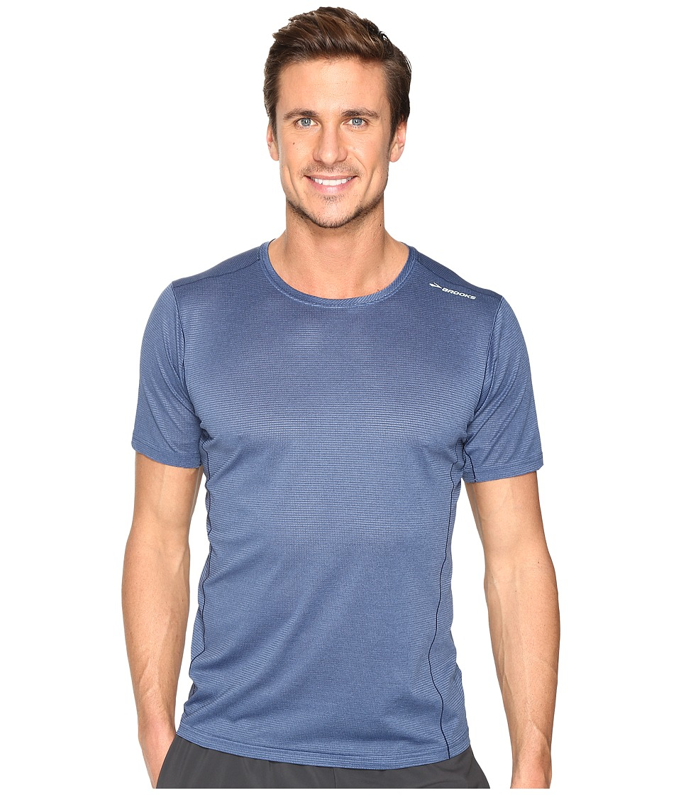 Brooks - Ghost Short Sleeve Shirt (Heather Ink) Men's Short Sleeve Pullover