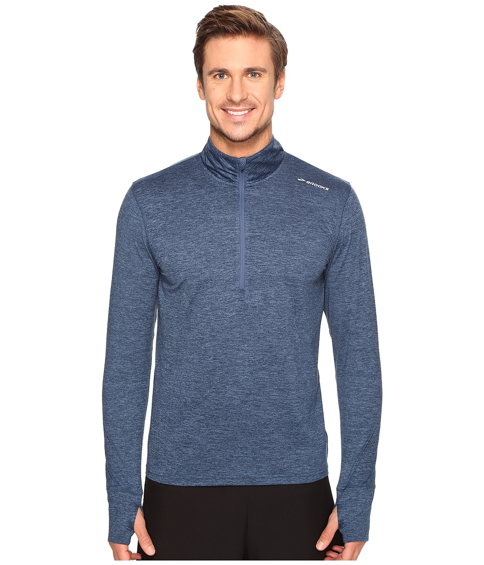 Brooks - Dash 1/2 Zip (Heather Ink/Black Macro) Men's Long Sleeve Pullover