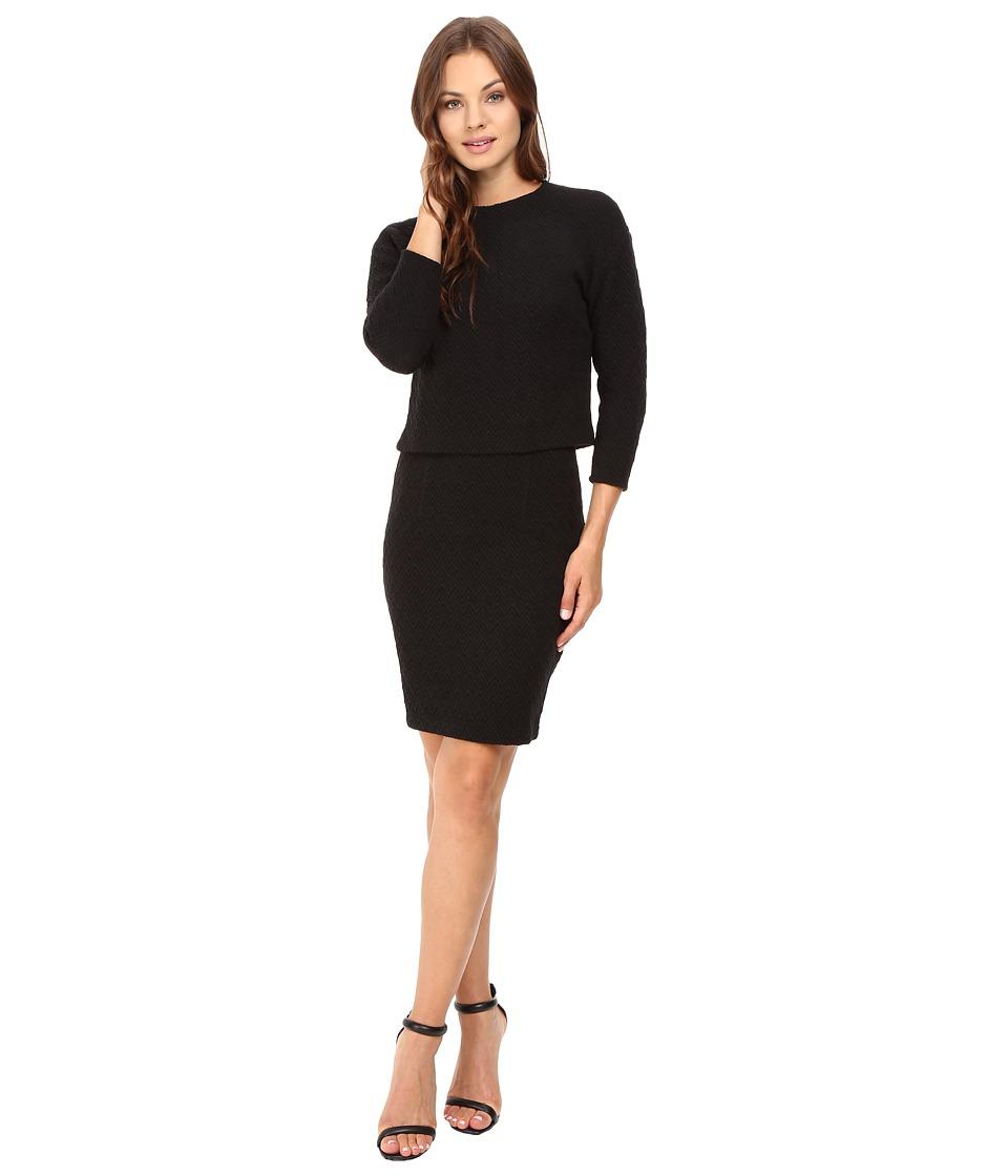 Donna Morgan - Drop Shoulder 3/4 Sleeve Top (Black) Women's Dress