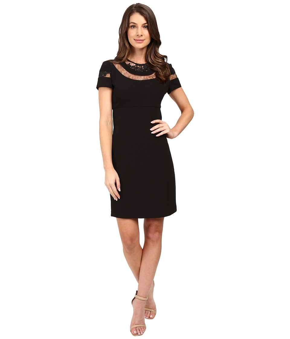 Donna Morgan - Short Sleeve A-Line Dress (Black) Women's Dress