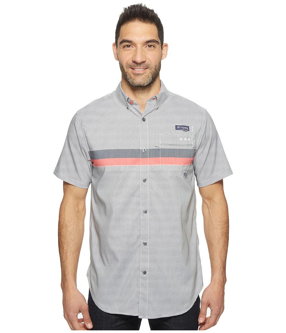 Columbia - Super Harborside Slim Fit Short Sleeve Shirt (Collegiate Navy Engineered Stripe) Men's Short Sleeve Button Up