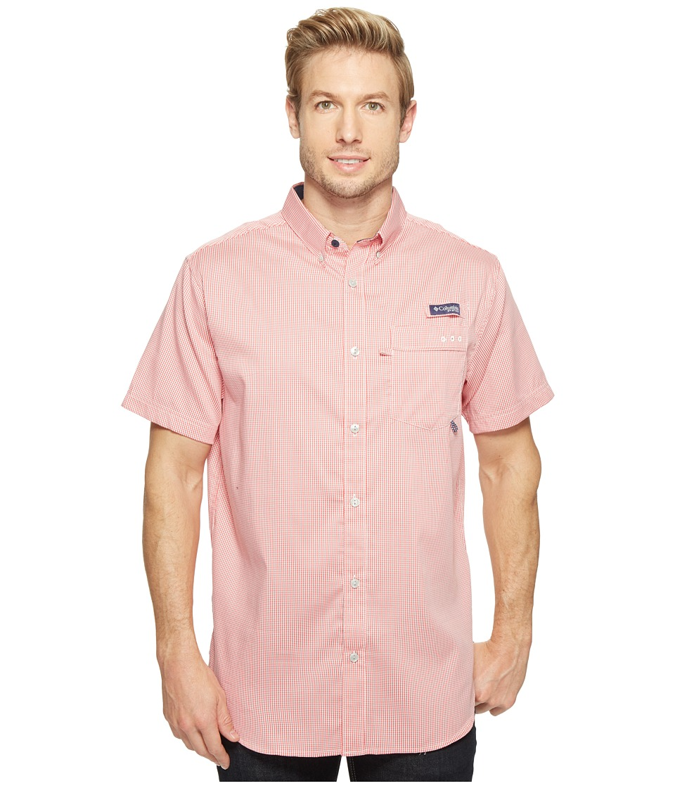 Columbia - Super Harborside Slim Fit Short Sleeve Shirt (Sunset Red Micro Gingham) Men's Short Sleeve Button Up