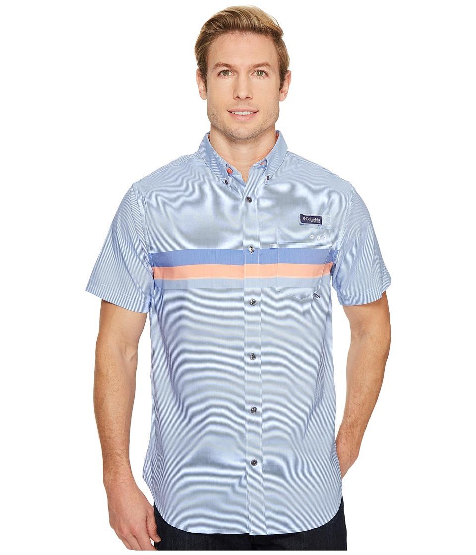 Columbia - Super Harborside Slim Fit Short Sleeve Shirt (Vivid Blue Engineered Stripe) Men's Short Sleeve Button Up