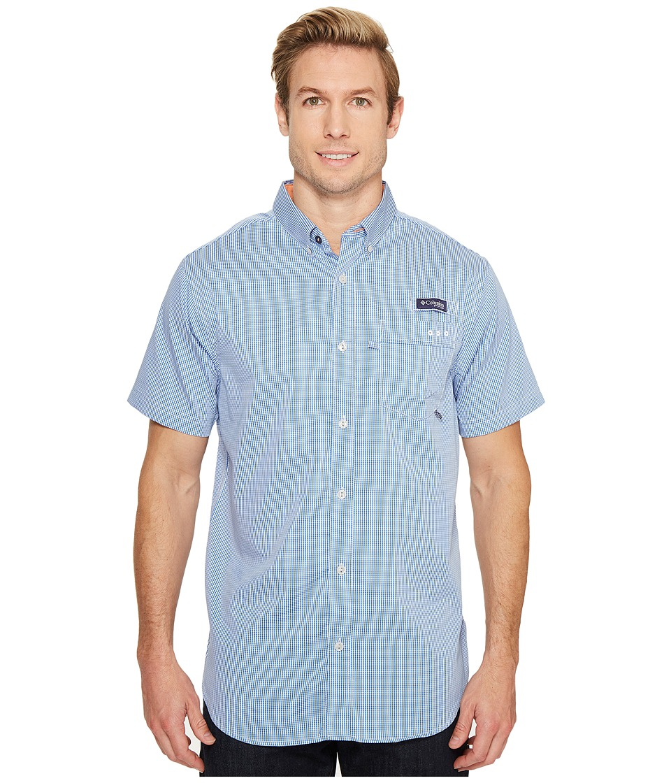Columbia - Super Harborside Slim Fit Short Sleeve Shirt (Vivid Blue Micro Gingham) Men's Short Sleeve Button Up