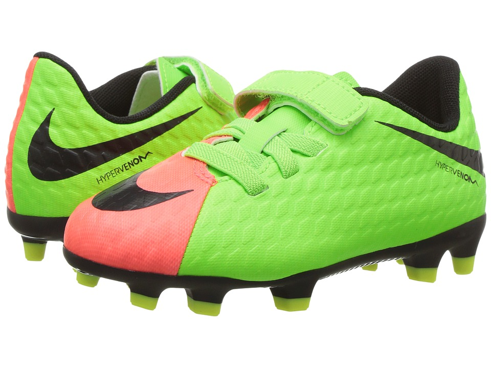 Nike Kids - Hypervenom PHD III (V) FG (Toddler/Little Kid) (Electric Green/Black Hyper/Orange Volt) Kids Shoes