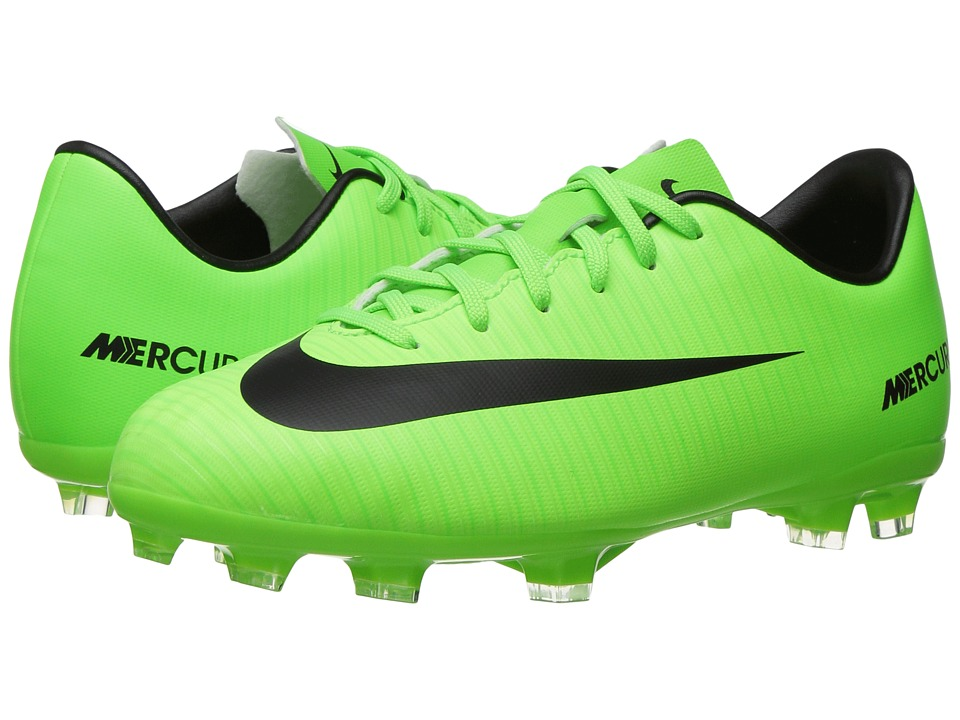 Nike Kids - Jr Mercurial Victory VI FG (Toddler/Little Kid/Big Kid) (Black/Electric Green/Paramount Blue/White) Kids Shoes