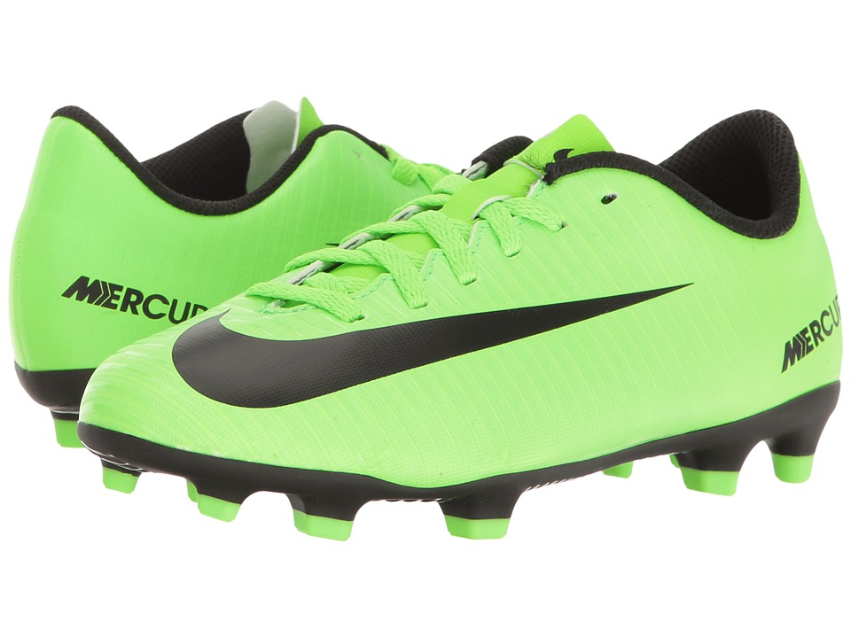 Nike Kids - Jr Mercurial Vortex III FG Soccer (Little Kid/Big Kid) (Electric Green/Black/Flash Lime/White) Kids Shoes