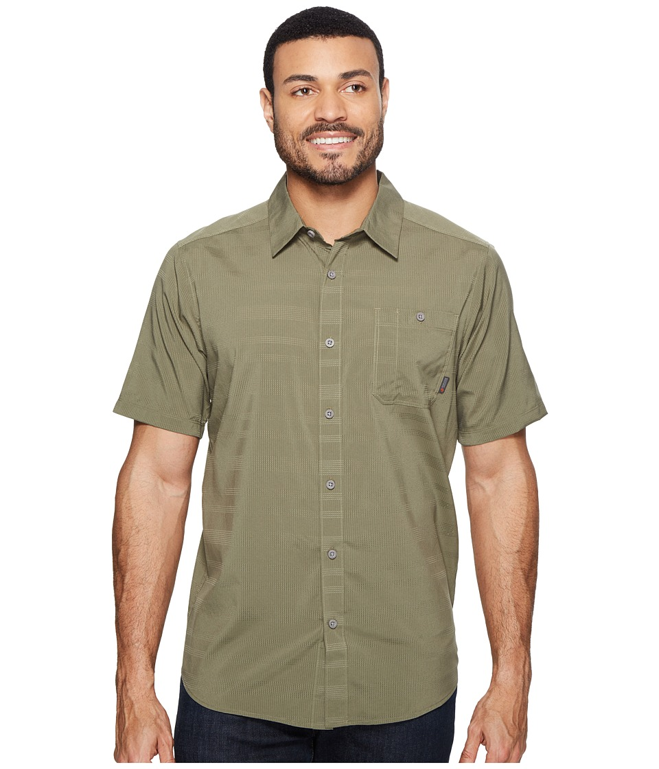 Mountain Hardwear - Air Tech AC Stripe Short Sleeve Shirt (Stone Green) Men's Short Sleeve Button Up