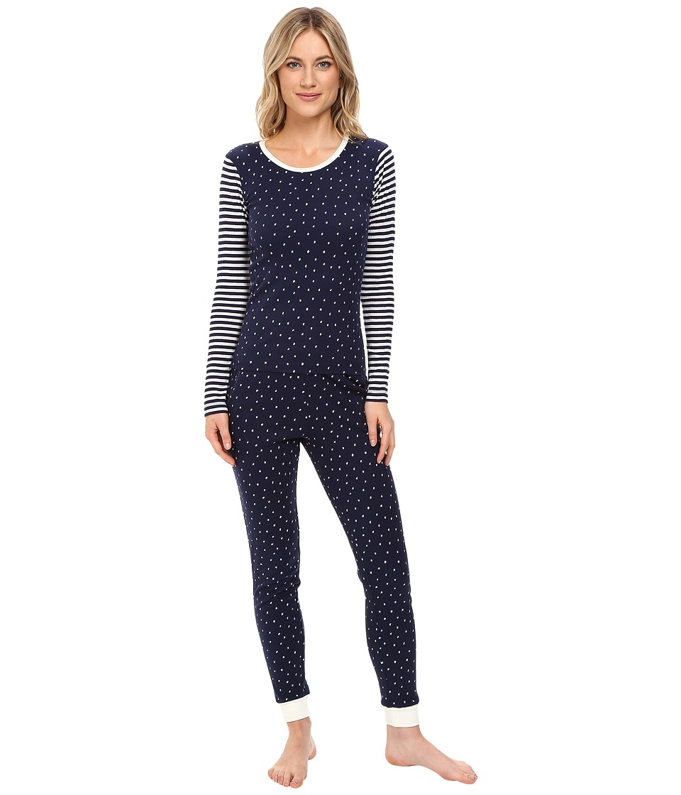 Jane & Bleecker - Packaged Long Johns Pajama Set 3591249F (Navy Stripe and Snowballs) Women's Pajama Sets