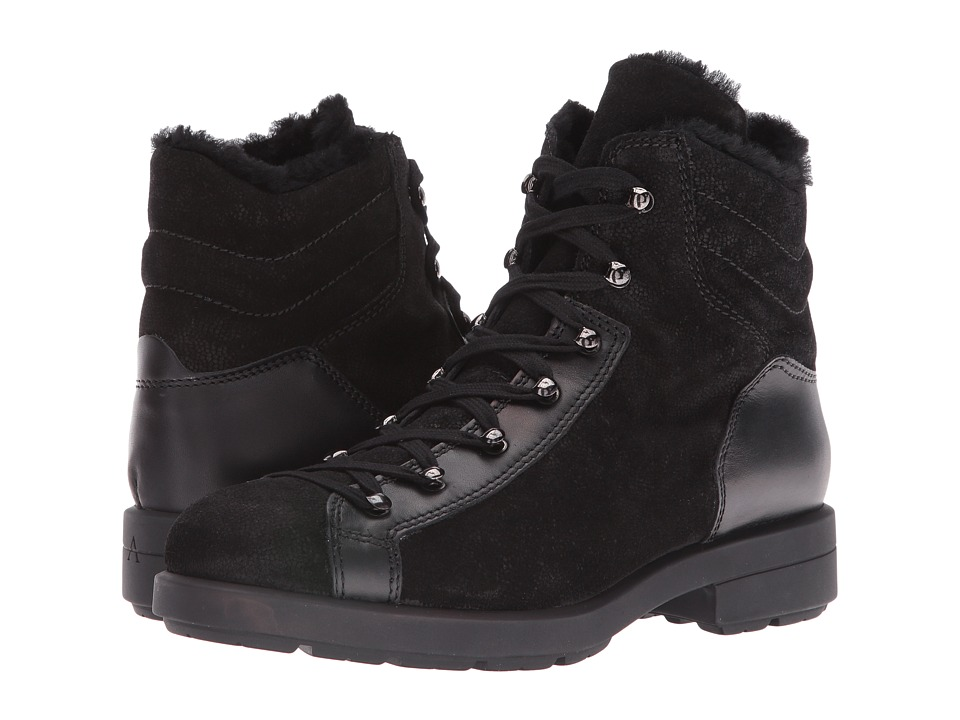 Aquatalia - Lettie Fur (Black Pebbled Suede/Calf) Women's Lace-up Boots