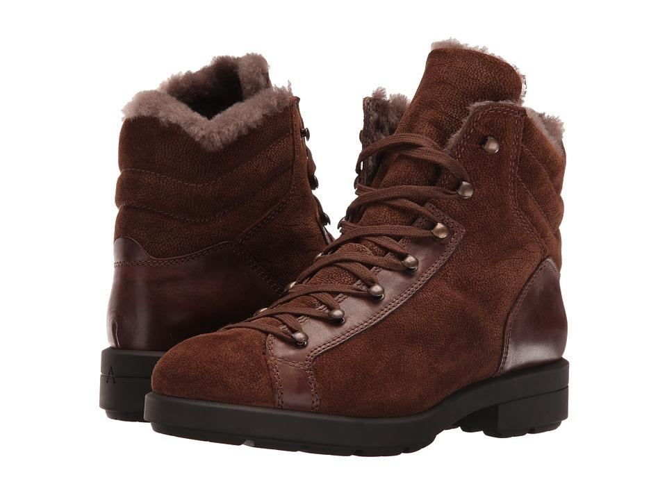 Aquatalia - Lettie Fur (Chestnut Pebbled Suede/Calf) Women's Lace-up Boots