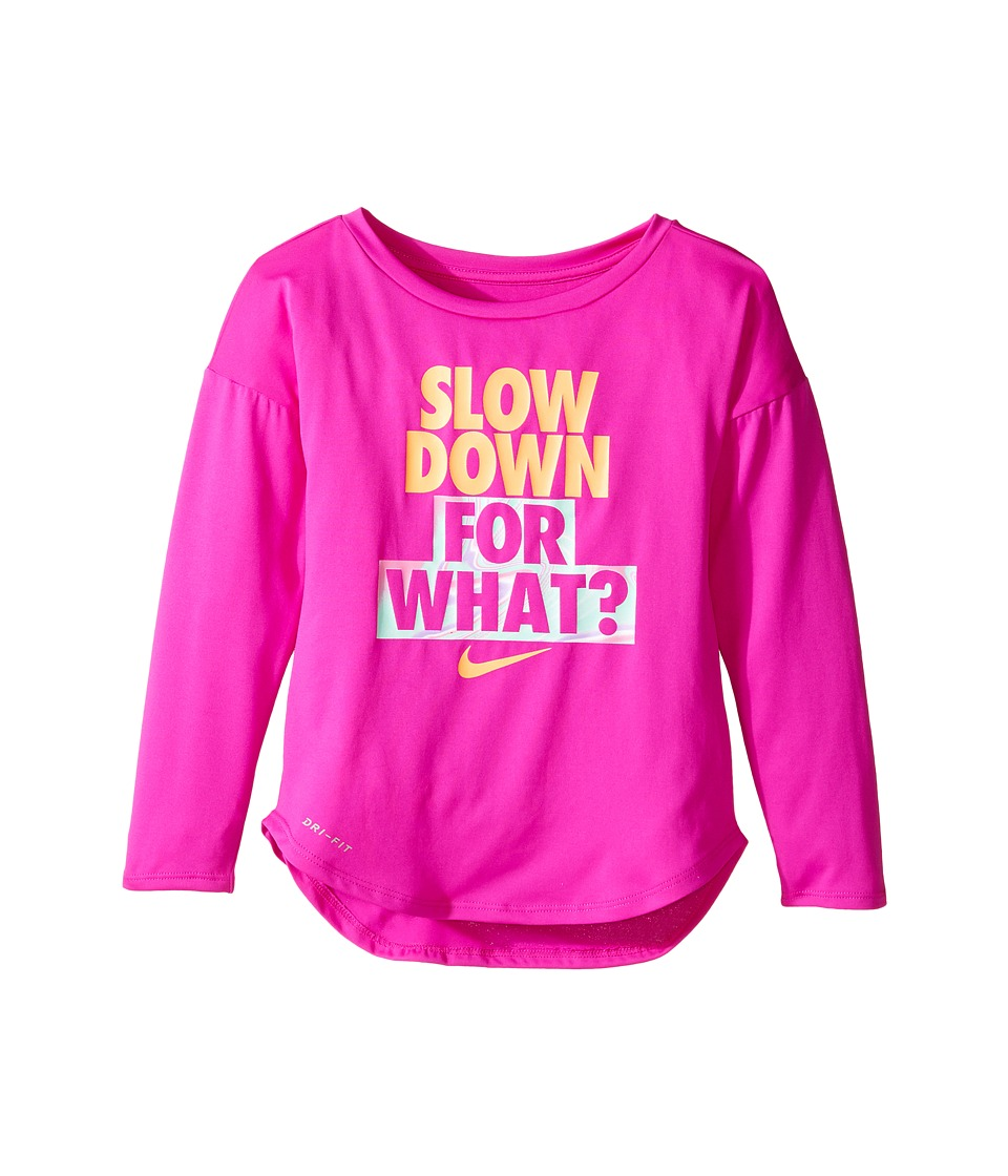 Nike Kids - Slow Down For What Dri-Fit Long Sleeve Tee (Toddler) (Fire Pink) Girl's T Shirt